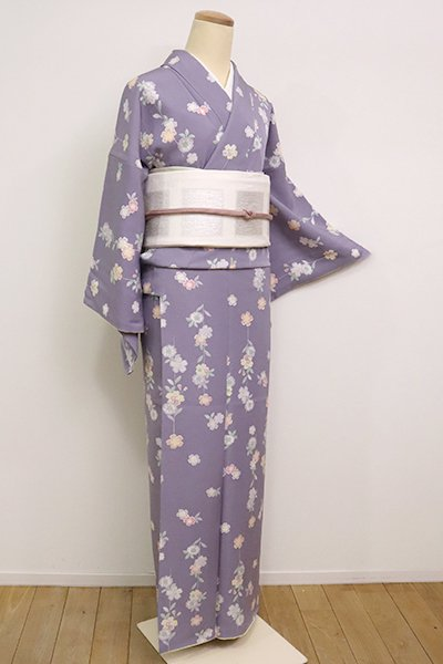 あおき【D-2474】(L)小紋 鳩羽色 桜文