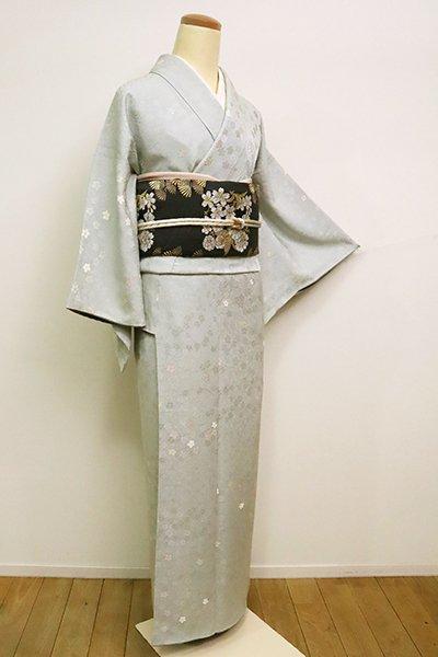 銀座【D-2477】(S)西陣織 小紋 青磁鼠色 桜尽くし