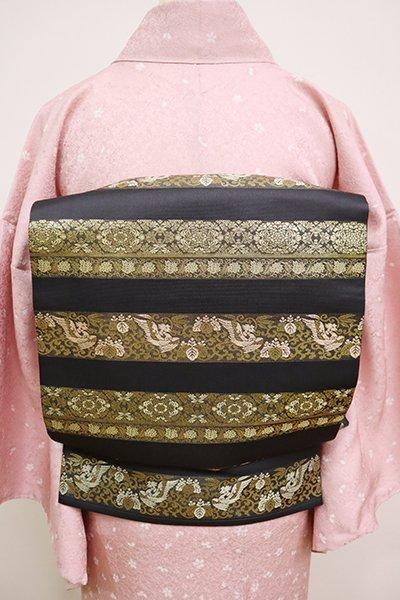 銀座【L-5028】西陣 陰山織物製 箔屋清兵衛 袋帯 黒色 正倉院文横段(落款入)