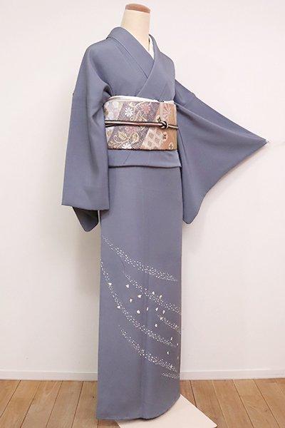 【B-2544】(広め)付下げ 深い灰青色 桜の花弁の図
