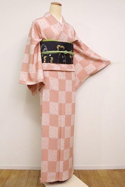 銀座【D-2480】染の北川製 小紋 水柿色 小桜市松文(反端付)