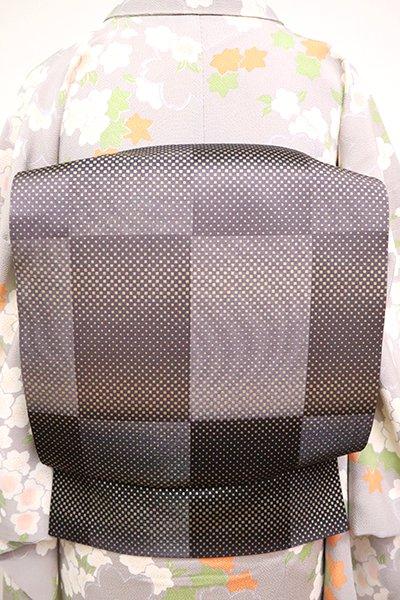 あおき【L-5033】洒落袋帯 黒紅色 市松に幾何文