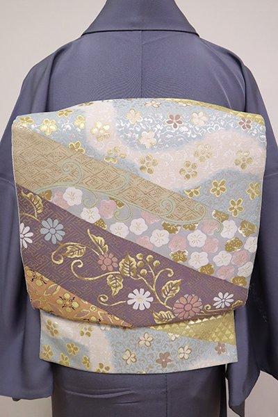 銀座【L-5034】西陣 となみ織物製 袋帯 横段に花々や唐草の図