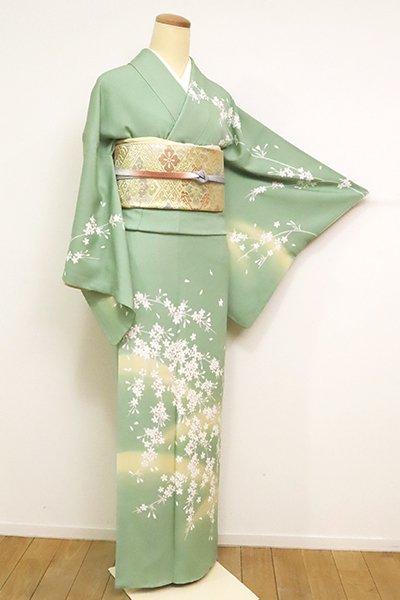 【B-2545】訪問着 薄萌葱色 遠山に枝垂れ桜の図