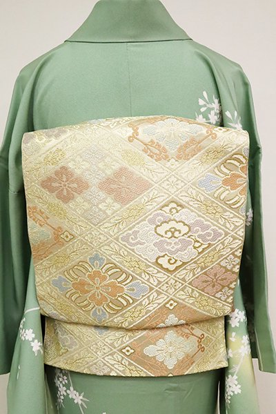 銀座【L-5036】西陣 川島織物製 本袋帯 金色 有職菱文(落款入)