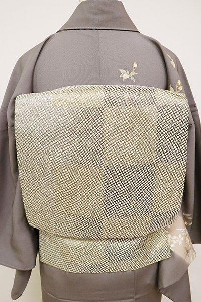 銀座【L-5039】袋帯 金色×銀色 市松文