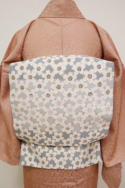 銀座【L-5040】西陣 となみ織物製 袋帯 白鼠色 桜文