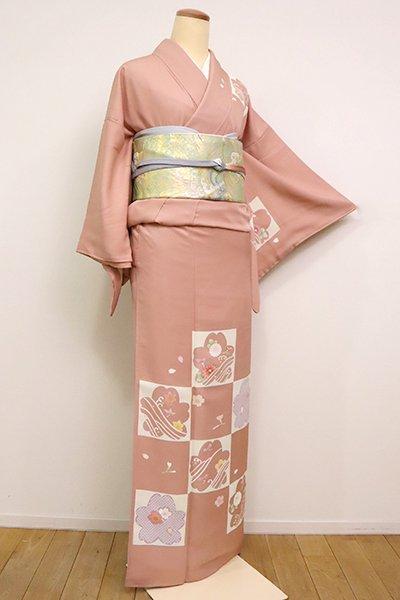 あおき【B-2549】(細め)訪問着 水柿色 市松に桜や花々の図(落款入)