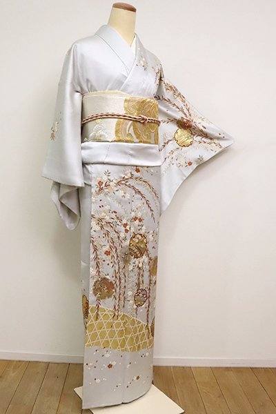 銀座【B-2550】訪問着 白花色 柳と桜に雪輪文