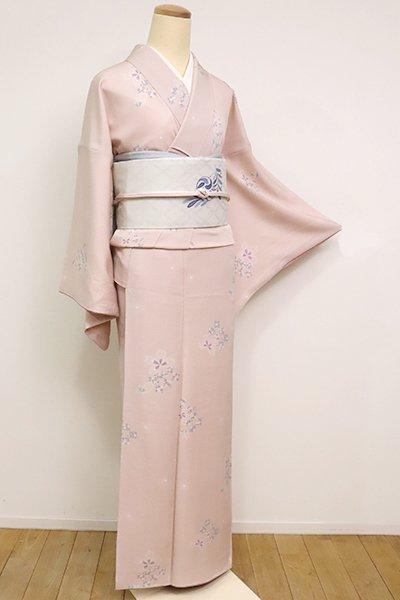 銀座【D-2485】小紋 灰桜色 桜に石畳文