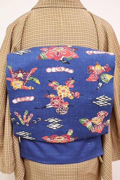 銀座【K-6694】紬地 型絵染 名古屋帯 深縹色 春の草花