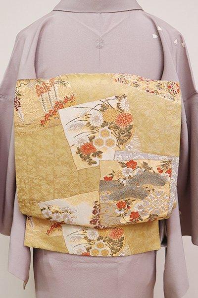 あおき【L-5041】西陣 加納幸製 袋帯 金色 色紙に四季花や華文(落款入)