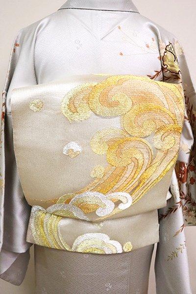 銀座【L-5043】袋帯 銀色×金色 波文