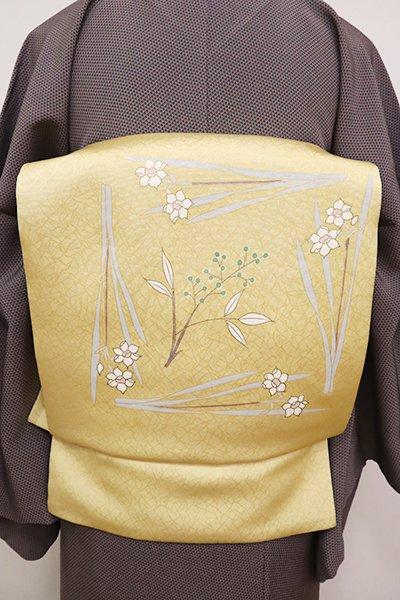 あおき【K-6700】染名古屋帯 淡黄色 水仙と実のなる植物(長尺)