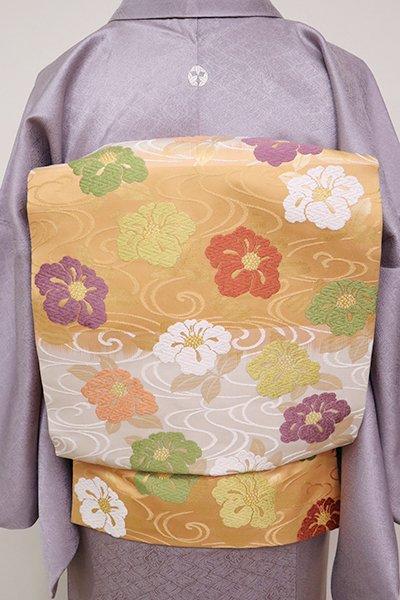 あおき【K-6702】織名古屋帯 白色×萱草色 流水に椿文