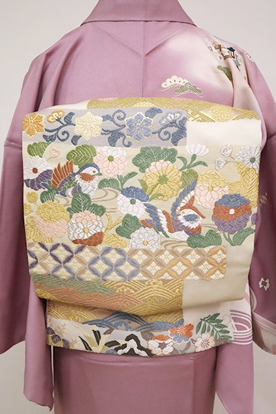 銀座【L-5044】袋帯 練色 装束写し文