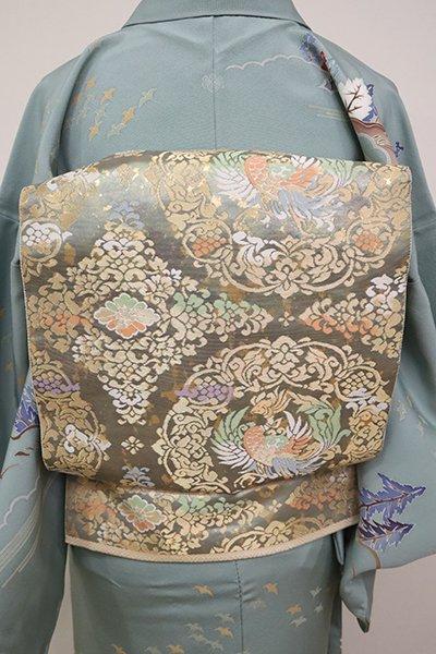 あおき【L-5045】西陣 服部織物製 こはく錦 袋帯 鳳凰華文(証紙付・落款入)