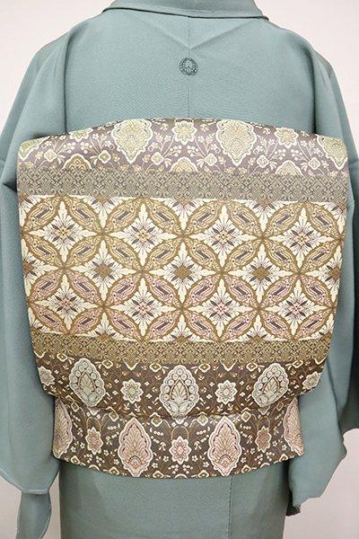 銀座【L-5047】西陣 陰山織物製 箔屋清兵衛 袋帯 更紗文や鳥襷の横段 (落款入)