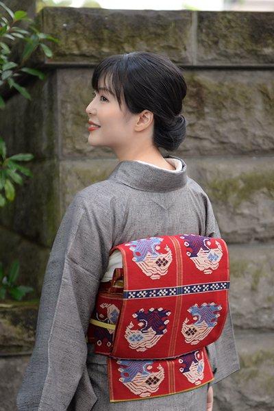 銀座【帯3312】龍村平蔵製 本袋帯 銘「甲比丹孔雀文」