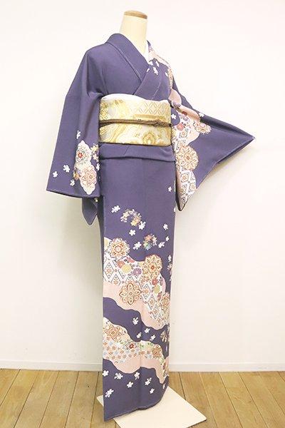 あおき【B-2553】訪問着 紫苑色 道長取りに桜や華文