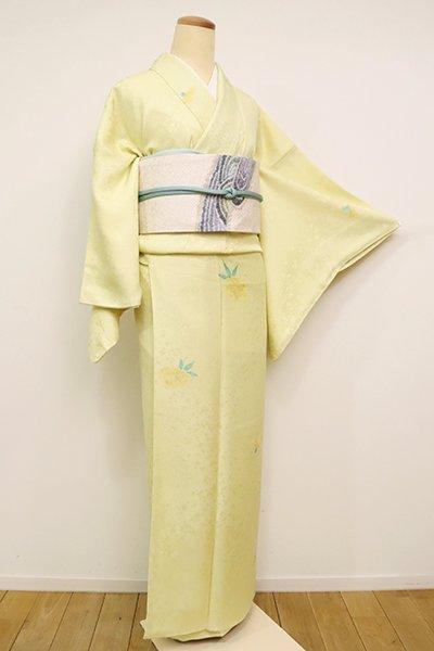 あおき【D-2487】小紋 淡黄色 花の図