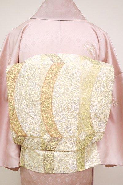 銀座【K-6705】織名古屋帯 練色 花喰鳥文様