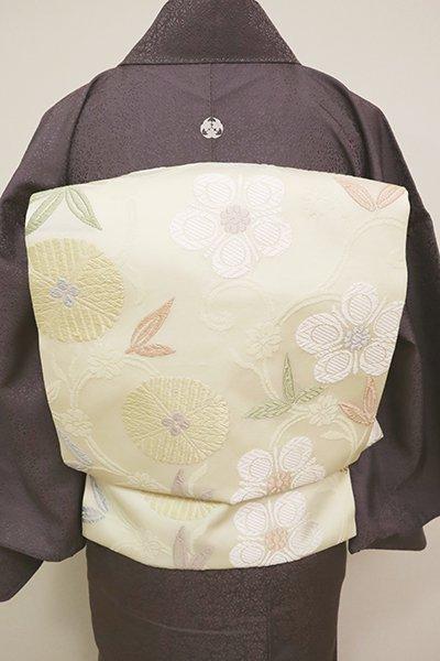 銀座【K-6706】西陣製 織名古屋帯 白色 笹蔓文(証紙付)(N)