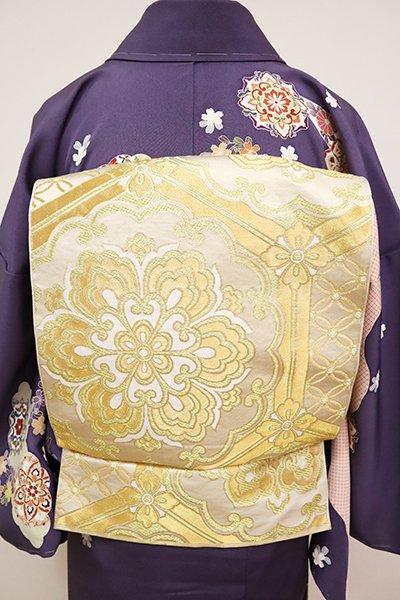 WEB限定【L-5048】西陣 川島織物製 本袋帯 練色×金色 亀甲に華文(落款入)