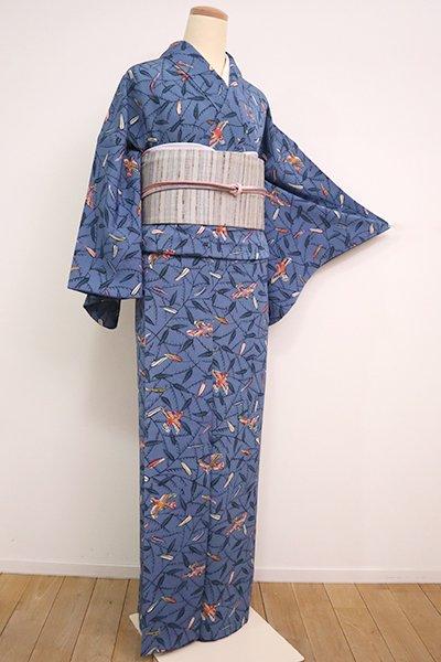 【D-2489】(広め)竺仙製 縮緬地 型絵染小紋 藍色 草葉に雀の図(反端付)
