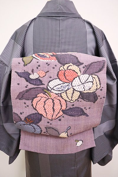 銀座【K-6710】西陣 渡文製 紬地 八寸織名古屋帯 葡萄鼠色 果物の図(証紙付)