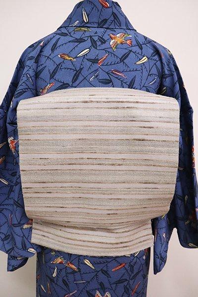 銀座【L-5052】野蚕糸紬地 洒落袋帯 絹鼠色 横段