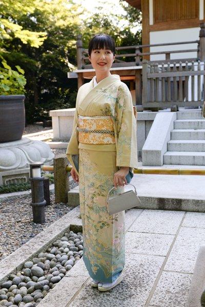 銀座【着物2745】蘇州刺繍 訪問着 白橡色×熨斗目花色 四季花文