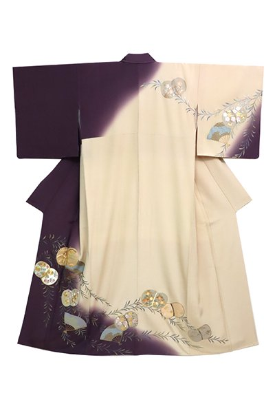 銀座【着物2742】訪問着 滅紫色×白茶色 切付け 柳に蹴鞠の図