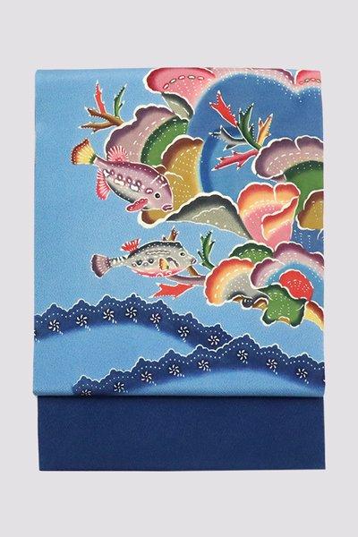 銀座【帯3319】本紅型 名古屋帯 藍色 魚の図
