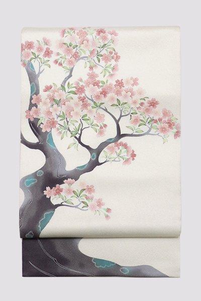 銀座【帯3316】日本工芸会正会員 坂井教人作 袋帯 桜の図 (落款入)
