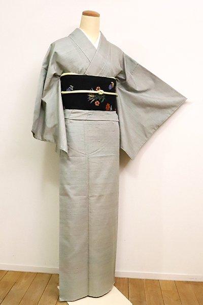 銀座【A-3079】(広め)繍一ッ紋 紅花紬 青磁鼠色 段暈かし
