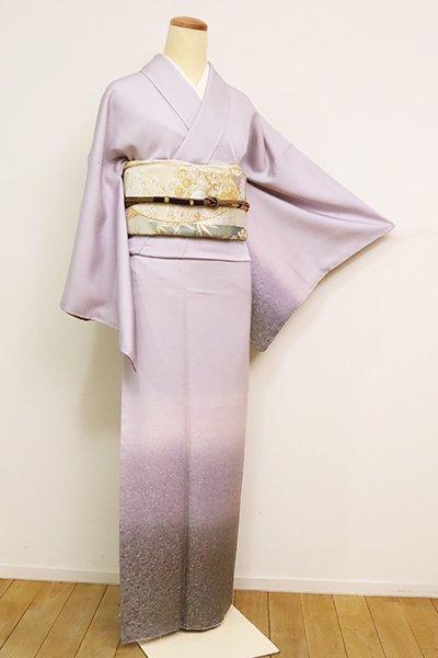 【B-2559】 西陣 山口美術織物製 付下げ 藤色×薄鈍色 裾暈かし(反端付・落款入)