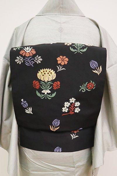 銀座【K-6712】西陣 川島織物製 織名古屋帯 黒色 更紗花文(落款入)