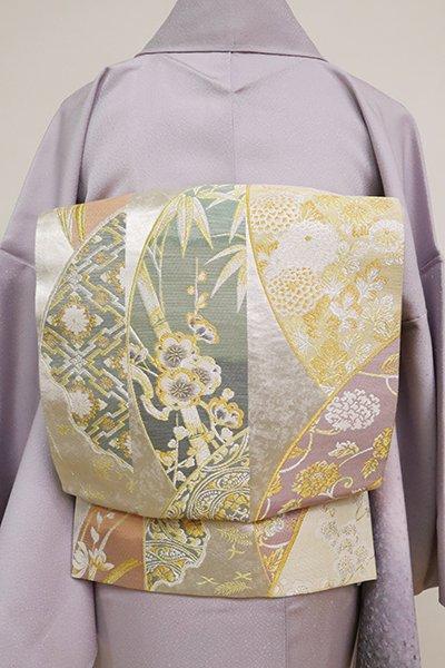 銀座【L-5056】袋帯 銀色 円に四季花や料紙文など(落款入)