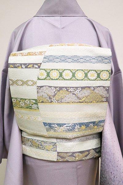銀座【L-5057】袋帯 白緑色 鬘帯文(三越扱い)