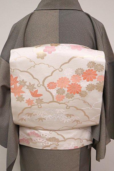 あおき【K-6718】織名古屋帯 白色 雪輪に四季花の図(三越扱い)