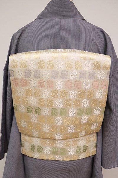 銀座【L-5058 】西陣 陰山織物製 袋帯 薄卵色 花兎文(落款入)