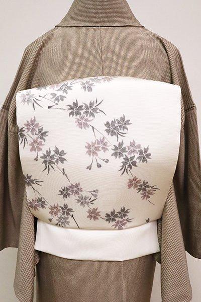 あおき【K-6723】塩瀬 染名古屋帯 白色 桜の花枝の図