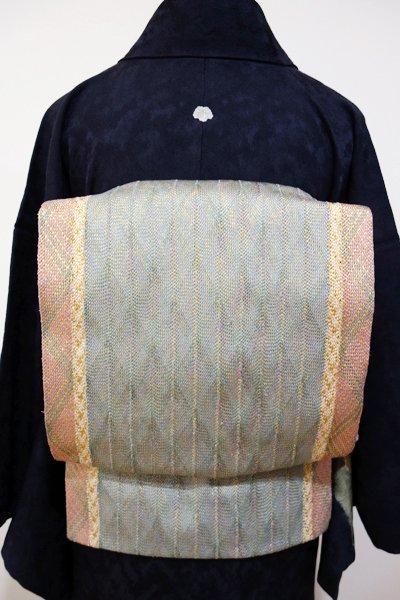 あおき【L-2412】組織り 袋帯 薄青色×赤香色 幾何文