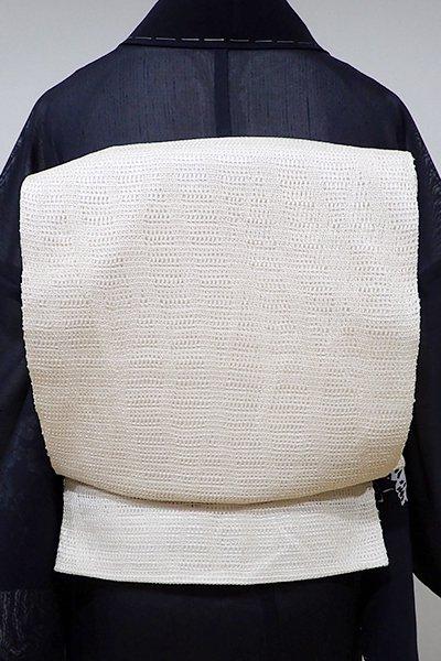 あおき【L-3675】捩り織り 洒落袋帯 練色 幾何文