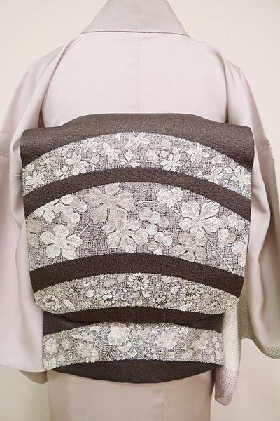 銀座【L-5061】西陣製 袋帯 黒橡色 唐草文の段(証紙付)