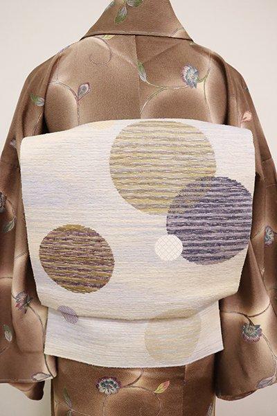 銀座【L-5062】西陣 じゅらく製 洒落袋帯 砥粉色 水玉文(落款入)
