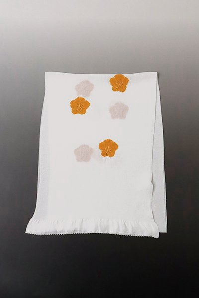 【R-608】京都 衿秀製 縮緬地 帯揚げ 飛び絞り 梅 白色×蜜柑色(N)