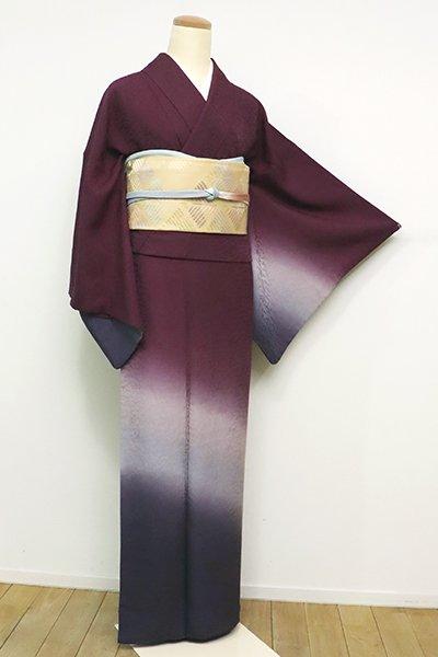 あおき【B-2562】(広め)付下げ 紫鳶色 裾暈かし(落款入)