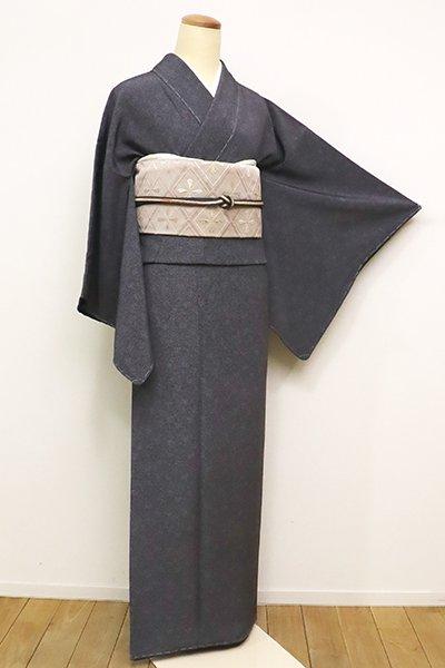 銀座【C-1864】(S・細め)江戸小紋 藍墨茶色 菊唐草文(落款入)
